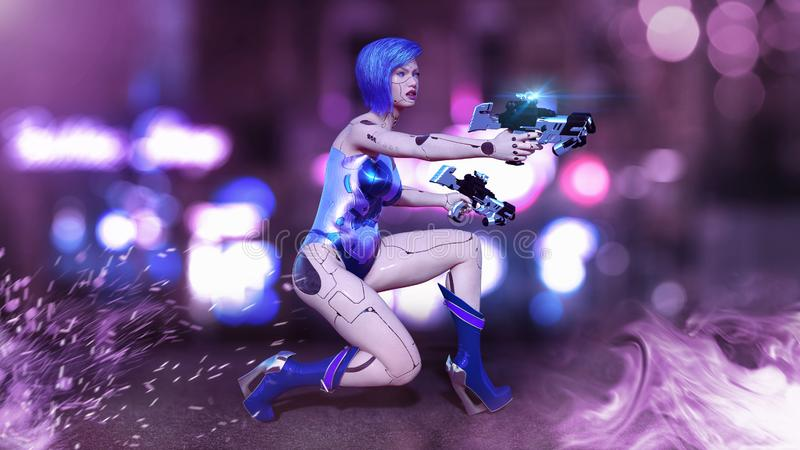 Cyborg girl armed with guns crouching, female battle robot shooting, sci-fi android woman in the night city street, 3D render vector illustration