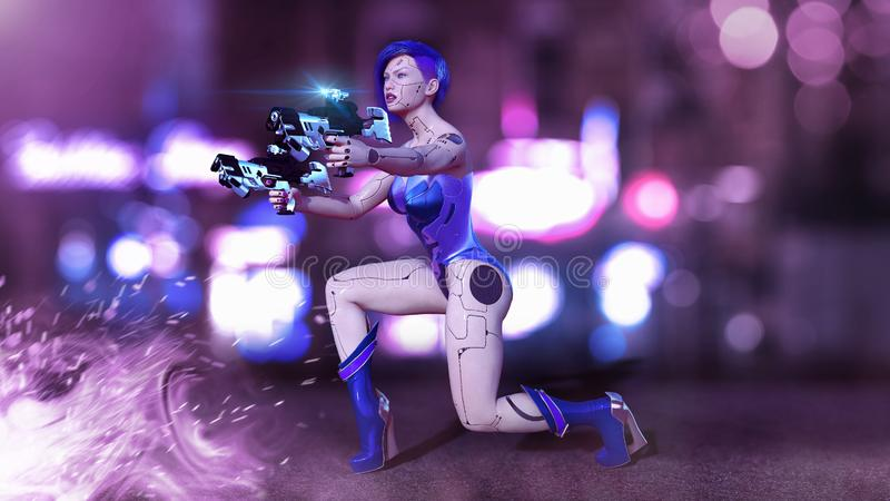 Cyborg girl armed with guns kneeling, female battle robot shooting, sci-fi android woman in the night city street, 3D render stock illustration