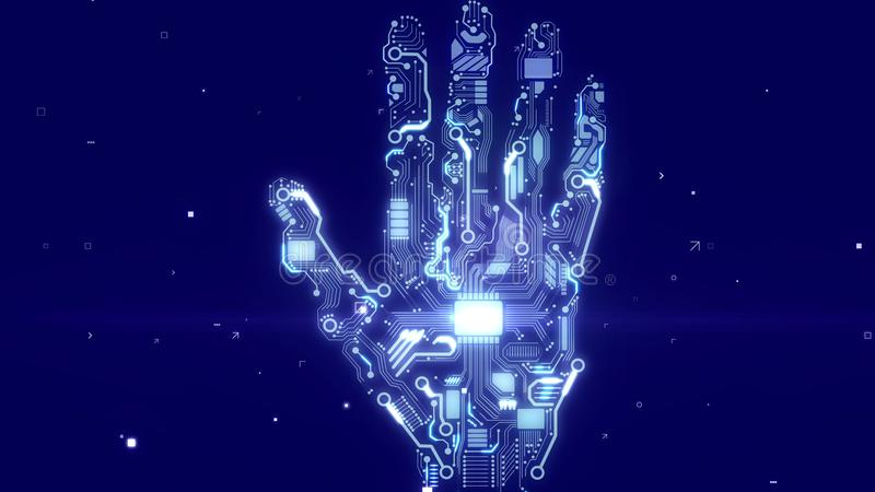 Cyborg hand with CPU microchips. Futuristic 3d rendering of a sparkling intelligent cyborg hand with embedded CPU microchips and circuits of lignt blue color in vector illustration