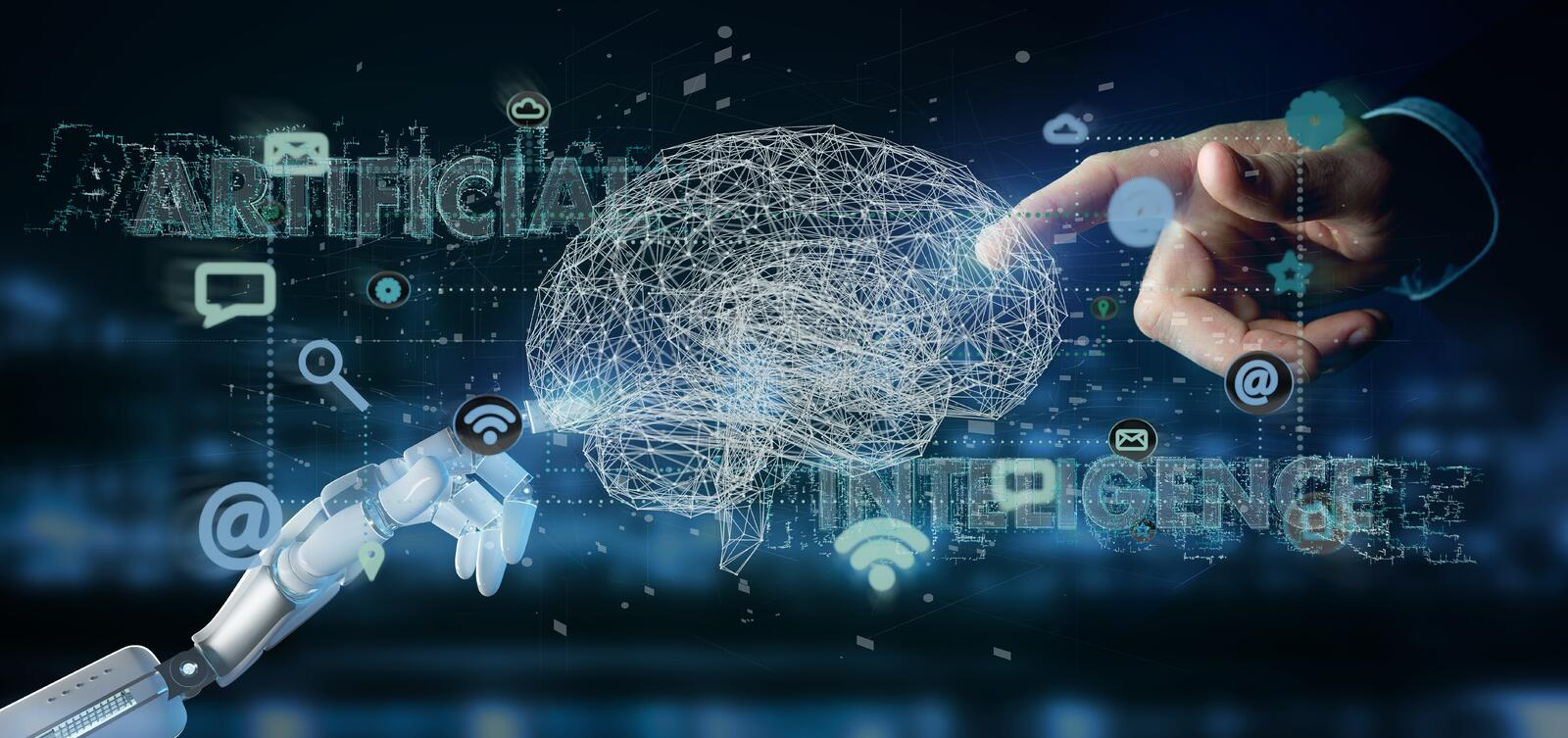 Cyborg hand holding a artificial intelligence concpt with a brain and app 3d rendering stock photography