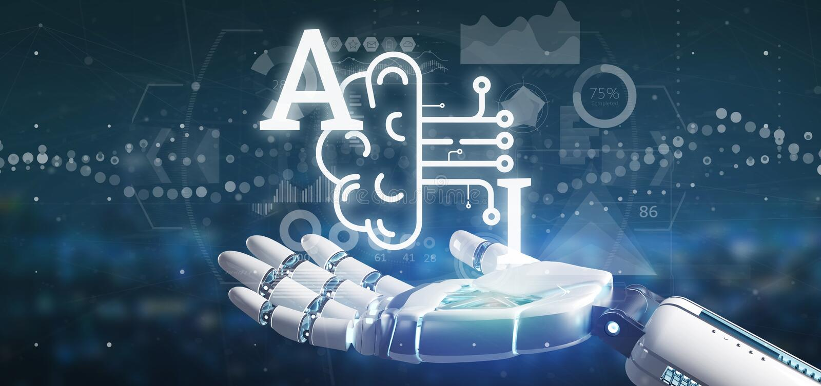 Cyborg hand holding artificial intelligence icon with half brain and half circuit 3d rendering. View of Cyborg hand holding artificial intelligence icon with vector illustration