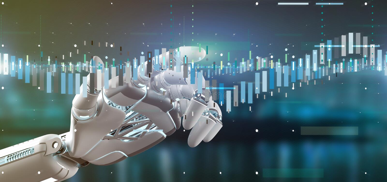 Cyborg hand holding a Business stock exchange trading data information 3d rendering. View of a Cyborg hand holding a Business stock exchange trading data stock photography