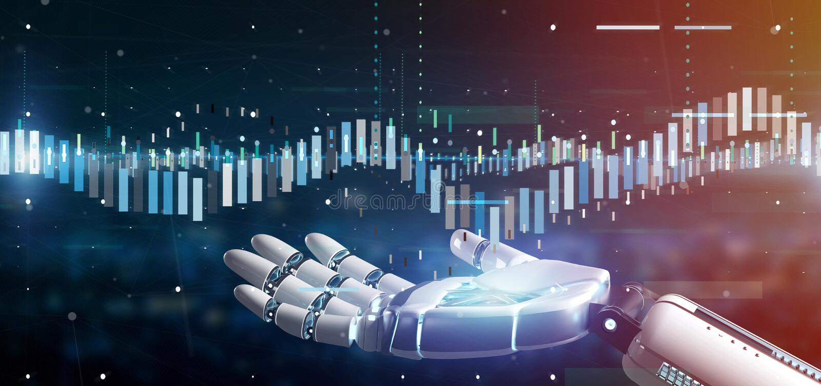 Cyborg hand holding a Business stock exchange trading data information 3d rendering. View of a Cyborg hand holding a Business stock exchange trading data royalty free stock photos