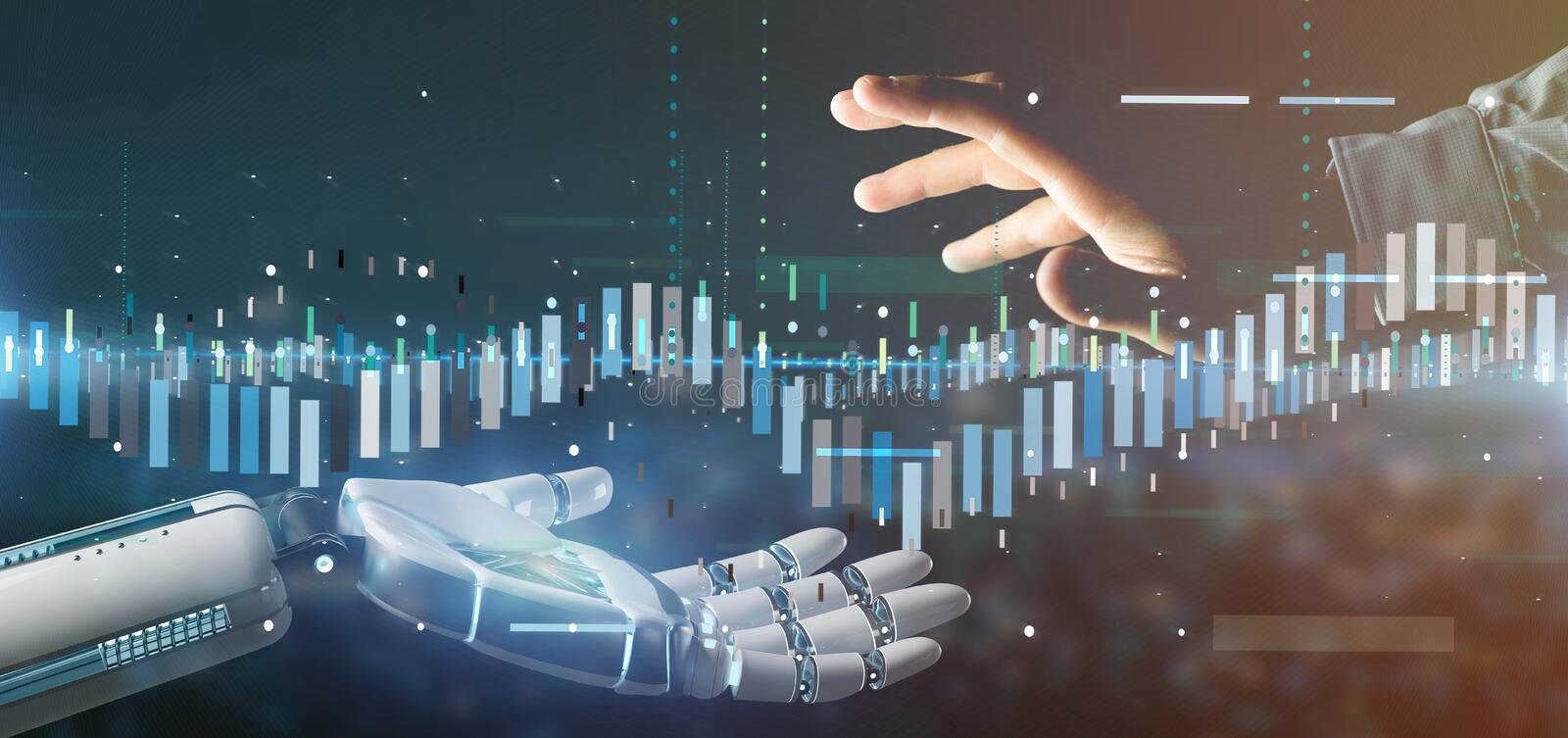 Cyborg hand holding a Business stock exchange trading data information 3d rendering. View of a Cyborg hand holding a Business stock exchange trading data royalty free stock photo