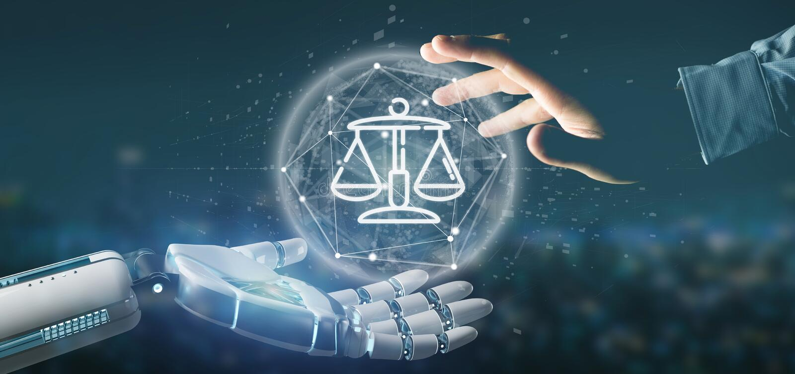 Cyborg hand holding Cloud of justice and law icon bubble with data 3d rendering. View of Cyborg hand holding Cloud of justice and law icon bubble with data 3d royalty free stock image