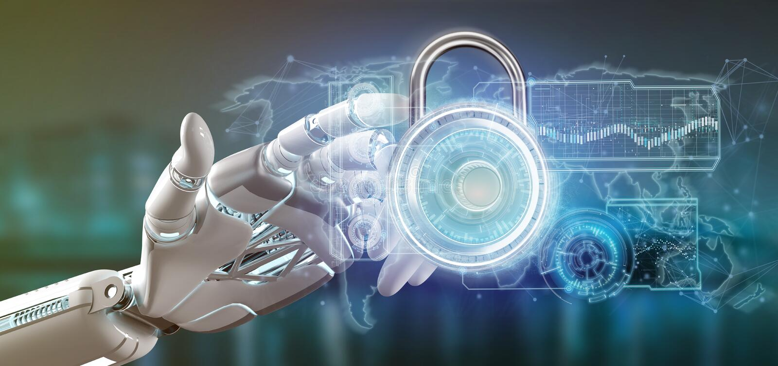 Cyborg hand holding a Padlock security technology interface 3d rendering. View of a Cyborg hand holding a Padlock security technology interface 3d rendering stock illustration