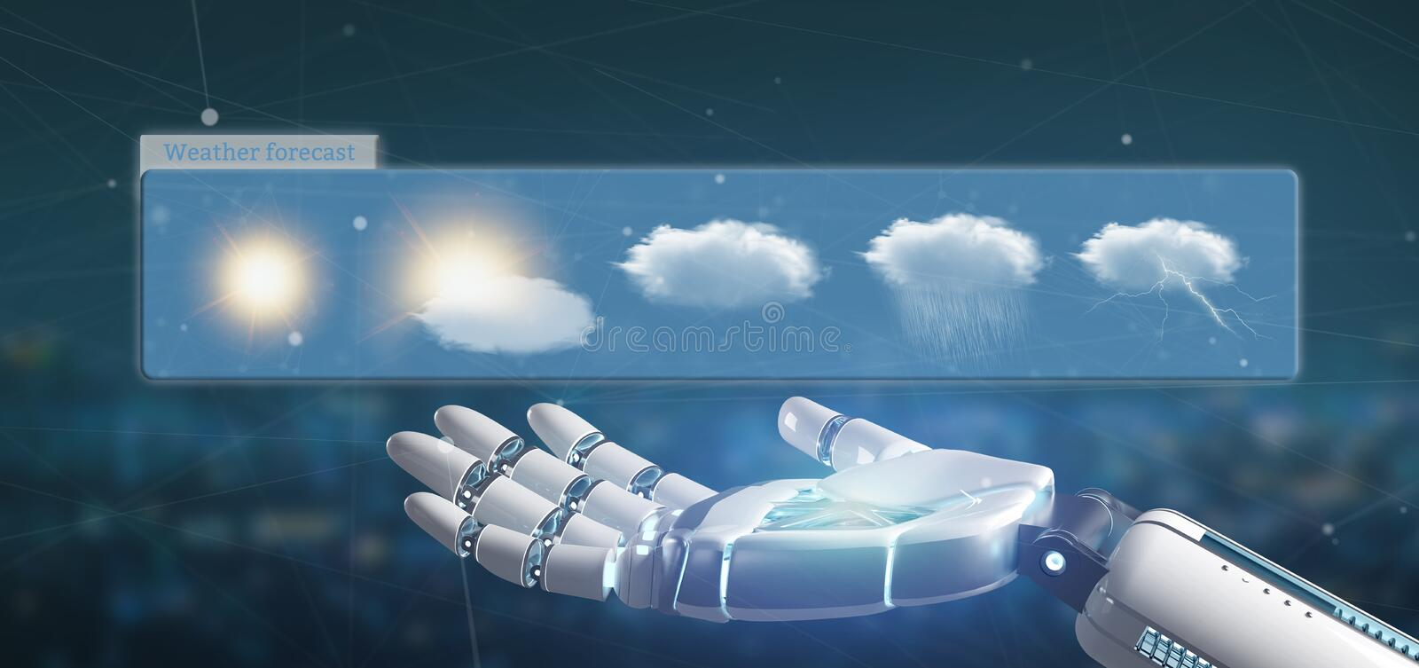 Cyborg hand holding a Weather Forecast widget 3d rendering. View of a Cyborg hand holding a Weather Forecast widget 3d rendering vector illustration