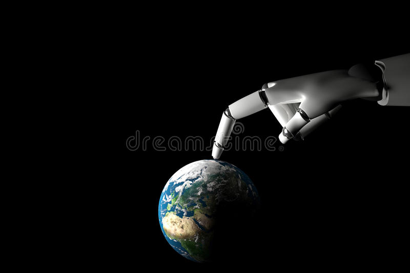 Cyborg hand playing with earth. On a black background stock illustration
