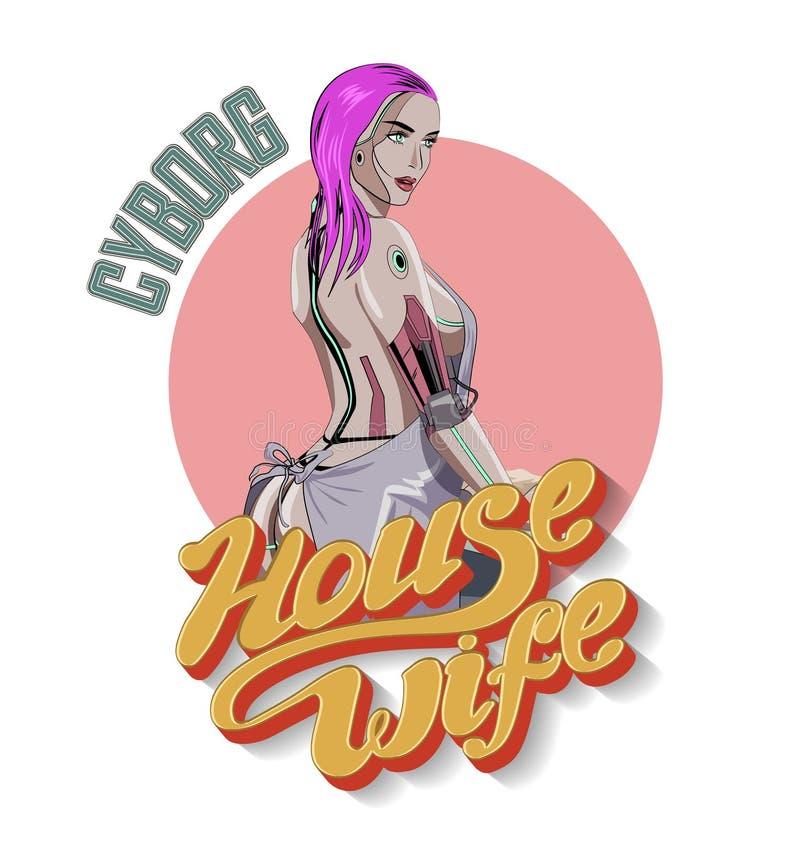 Cyborg-Hausfrau Netter weiblicher Roboter, der auf der Küche kocht Auch im corel abgehobenen Betrag vektor abbildung