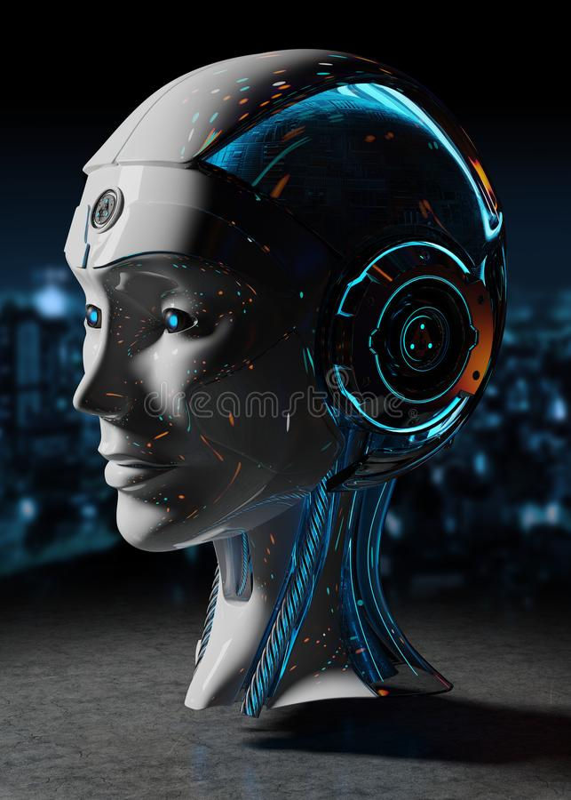 Cyborg head artificial intelligence 3D rendering stock illustration