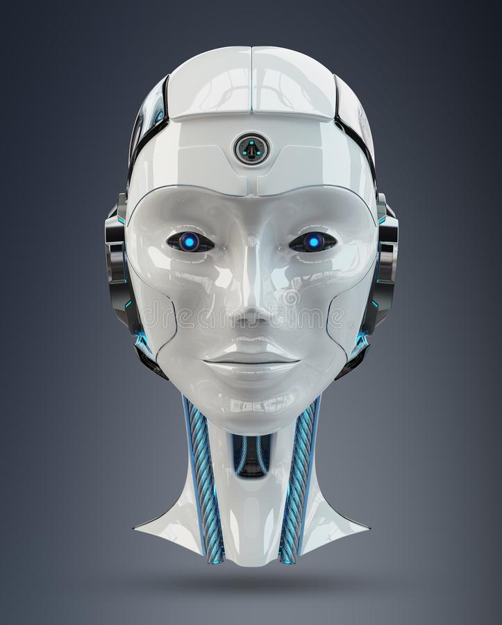 Cyborg head artificial intelligence 3D rendering vector illustration