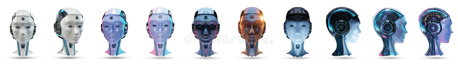 Cyborg head artificial intelligence pack 3D rendering vector illustration