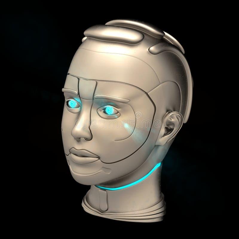 Cyborg head royalty free illustration