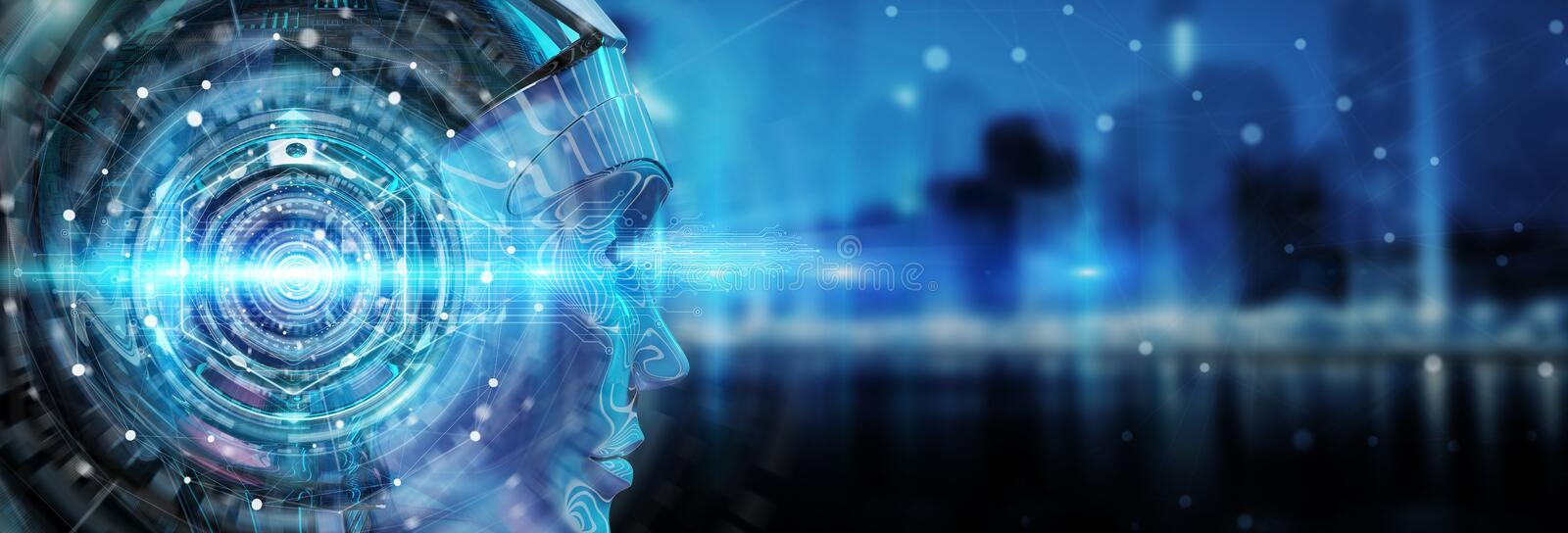 Cyborg head using artificial intelligence to create digital interface 3D rendering. Cyborg head using artificial intelligence to create digital interface on city vector illustration