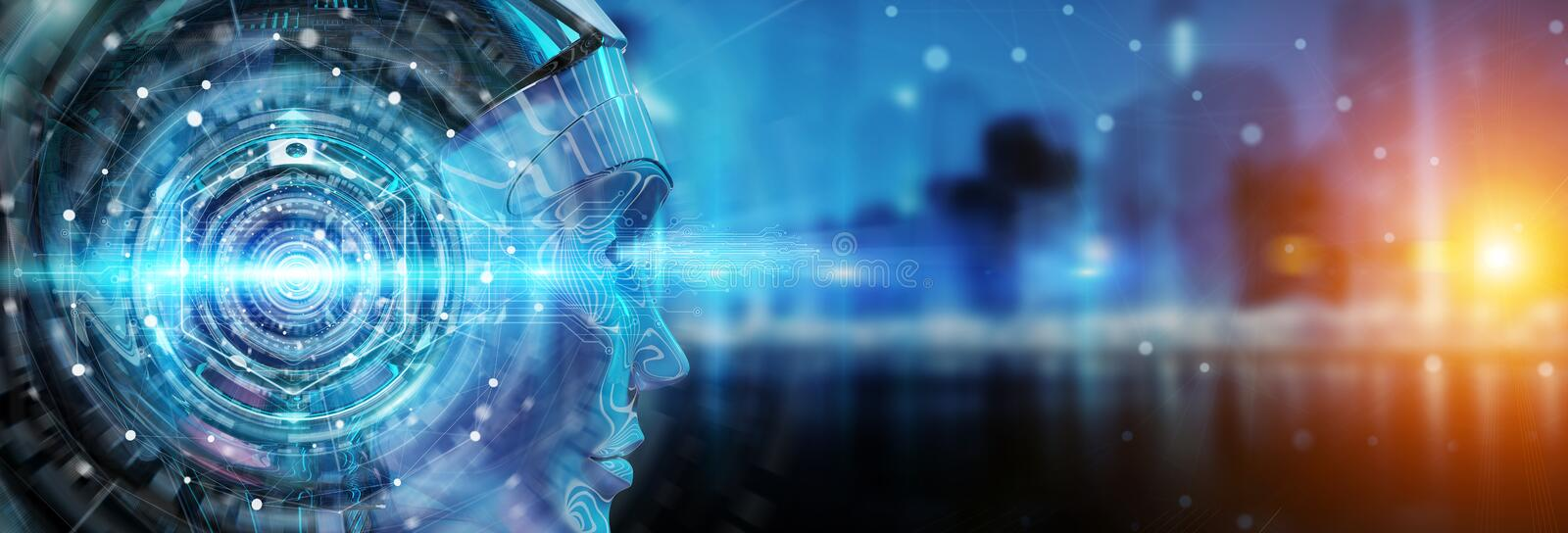 Cyborg head using artificial intelligence to create digital interface 3D rendering vector illustration