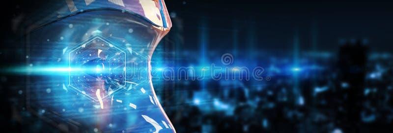 Cyborg head using artificial intelligence to create digital interface 3D rendering. Cyborg head using artificial intelligence to create digital interface on city vector illustration