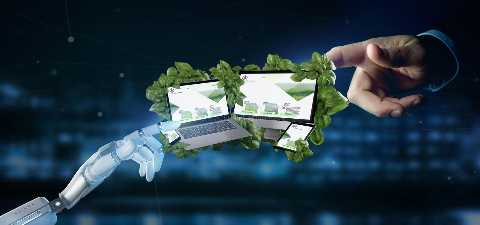 Cyborg holding a Connected devices surrounding by leaves 3d rend. View of a Cyborg holding a Connected devices surrounding by leaves 3d rendering stock image