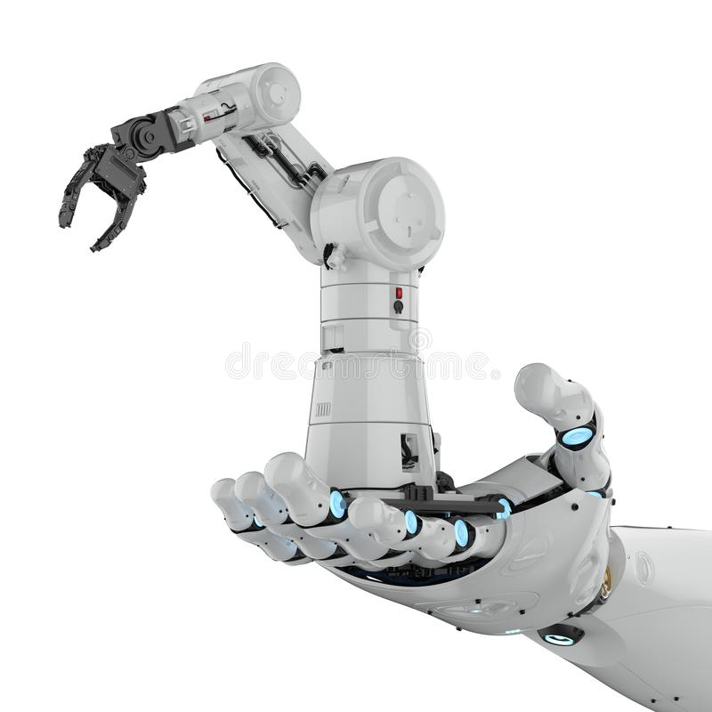Cyborg holding robot royalty free illustration