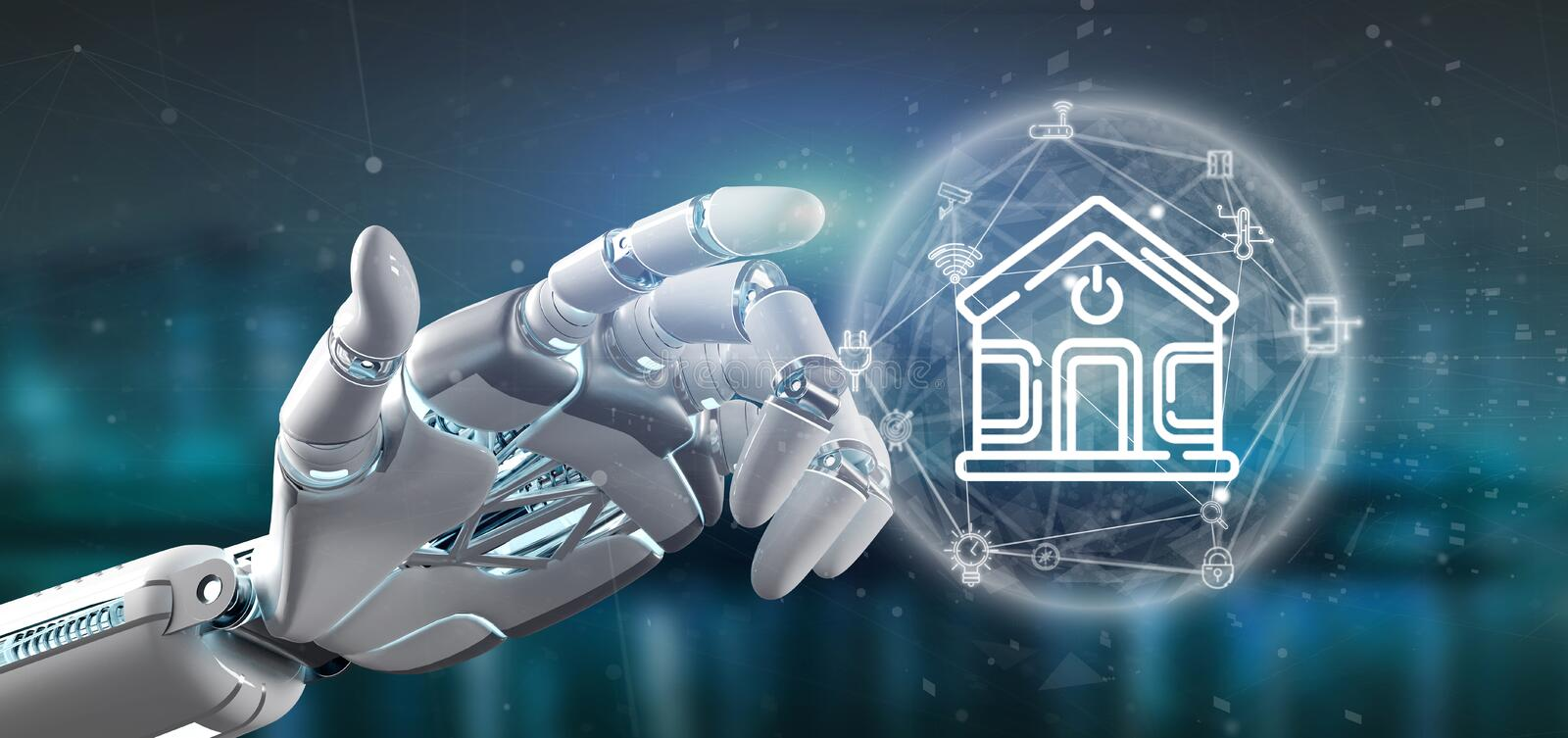 Cyborg holding Smart home interface with icon, stats and data 3d rendering. View of Cyborg holding Smart home interface with icon, stats and data 3d rendering stock illustration