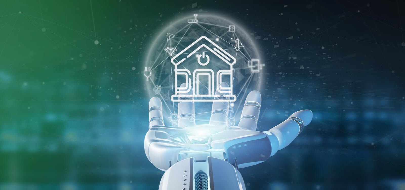 Cyborg holding Smart home interface with icon, stats and data 3d rendering. View of Cyborg holding Smart home interface with icon, stats and data 3d rendering royalty free illustration