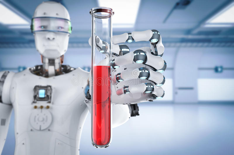 Cyborg holding test tube. 3d rendering cyborg holding test tube with red liquid vector illustration