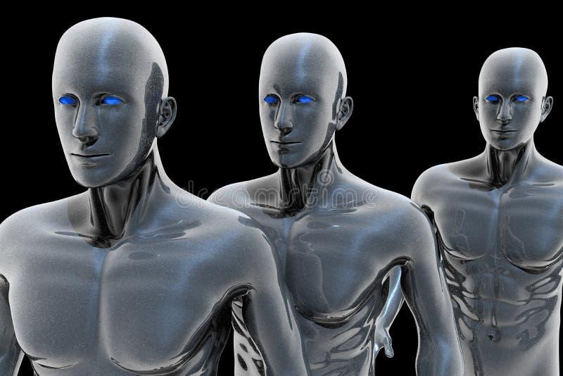 Cyborg - hombre y máquina - futuro stock de ilustración