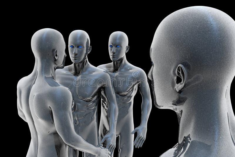 Cyborg - hombre y máquina - futuro ilustración del vector