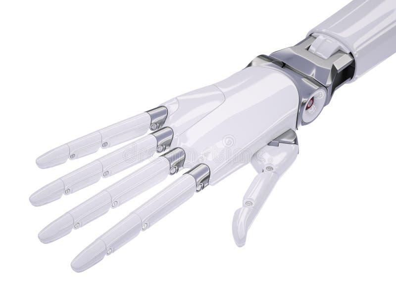 Cyborg Human-Like Hand 3d Illustration Isolated on White stock illustration