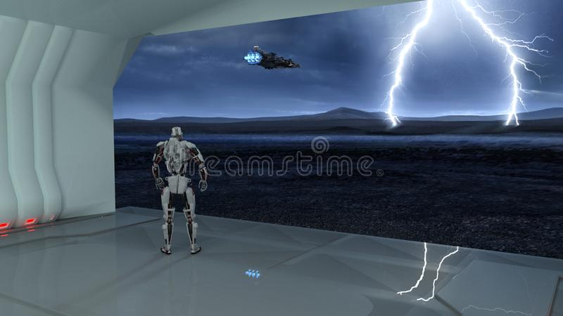 Cyborg, humanoid robot in cargo bay watching a spaceship flying into a storm on deserted planet, mechanical android, 3D render vector illustration