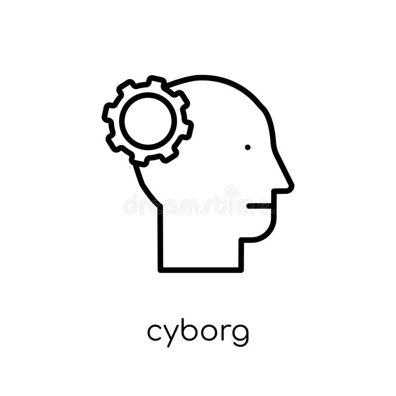 Cyborg icon. Trendy modern flat linear vector Cyborg icon on white background from thin line Artificial Intelligence, Future Tech stock illustration