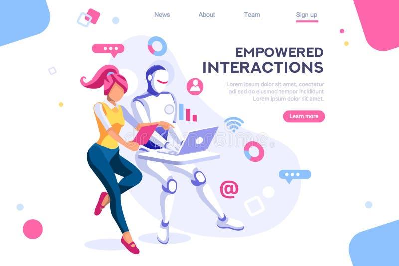Cyborg Human Interaction Interactive Concept. Flat cyborg idea, interactive engineer image. Partnership contact. Human interaction. Banner between white stock illustration