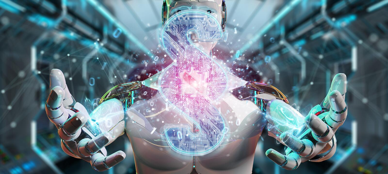 Cyborg judge using 3D rendering digital paragraph law symbol stock illustration