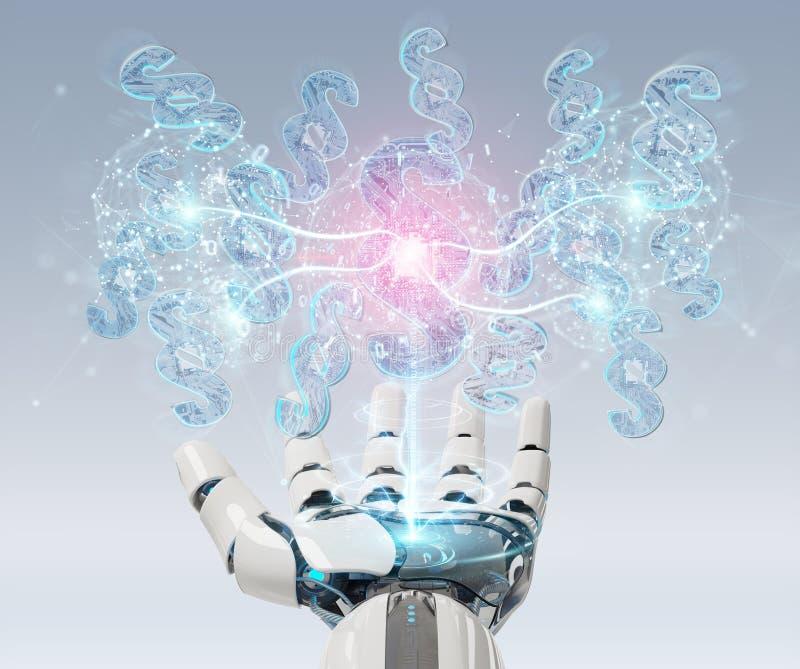 Cyborg judge using 3D rendering digital paragraph law symbol vector illustration