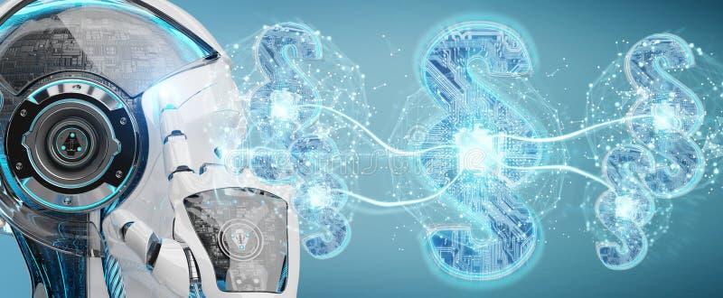 Cyborg judge using 3D rendering digital paragraph law symbol royalty free illustration