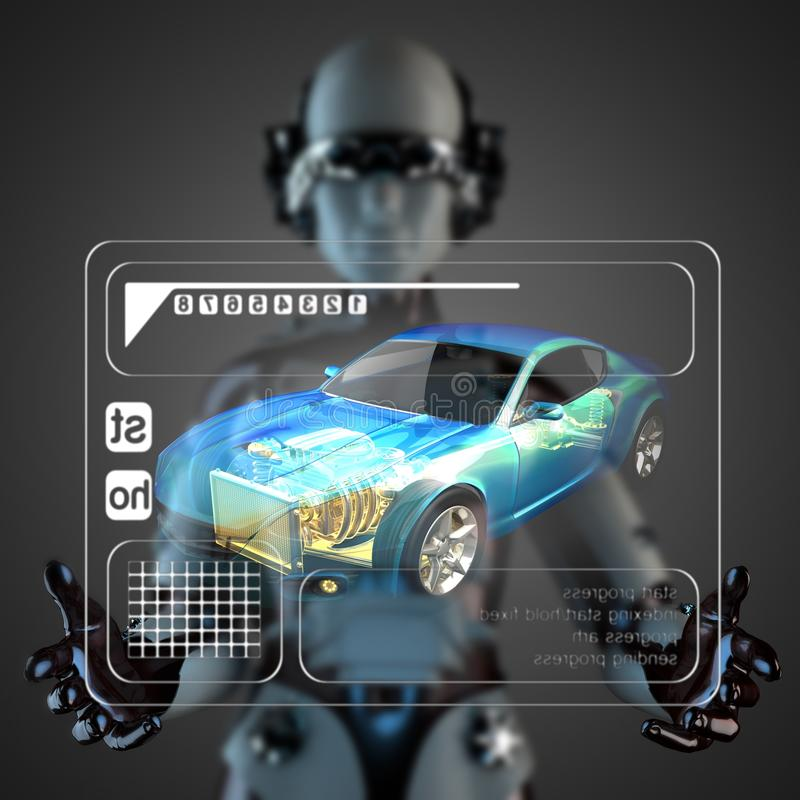 Cyborg kobiety manipulatihg holograma pokaz ilustracja wektor