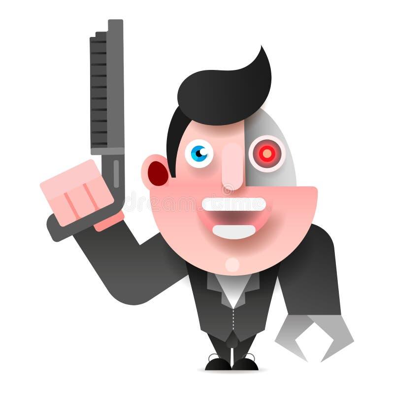 Cyborg in Leerjasje met Jachtgeweer Vectorillustratie stock illustratie