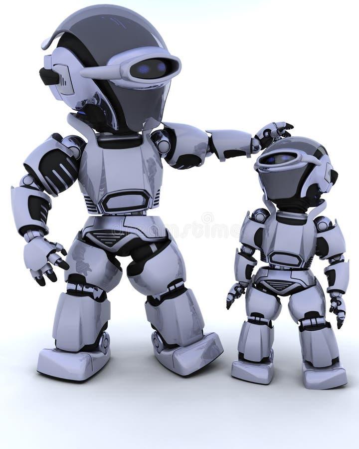 Cyborg lindo de la robusteza con el niño stock de ilustración