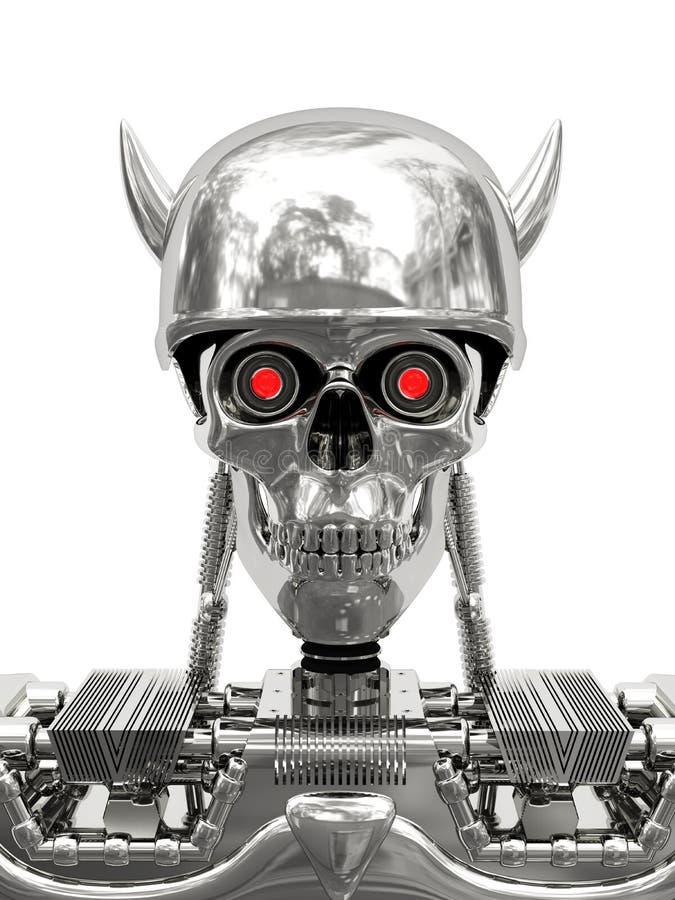 Cyborg métallique dans le casque avec des klaxons image libre de droits