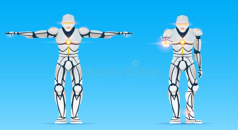 Cyborg is a man with artificial intelligence, AI. Humanoid Robot character shows gestures. Stylish android male vector illustration