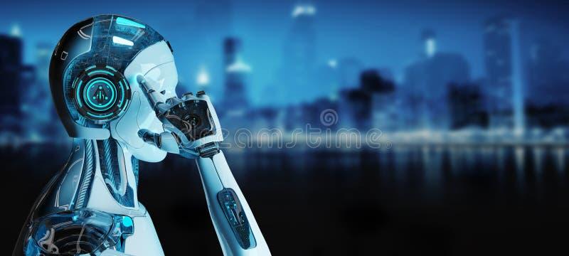 Cyborg masculino blanco que piensa y que toca su representación de la cabeza 3D libre illustration