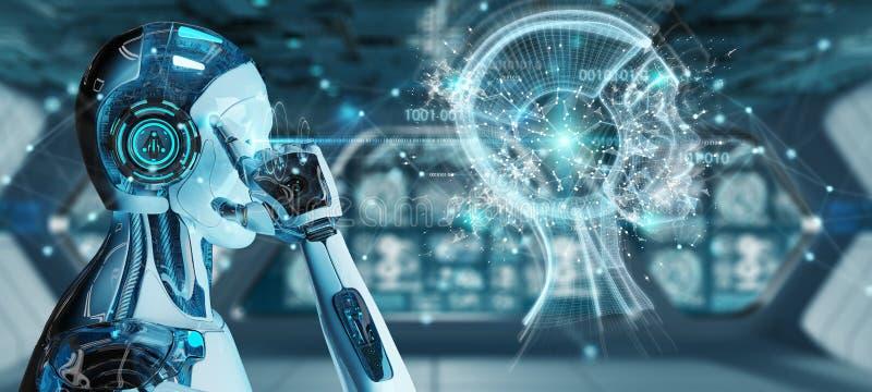 Cyborg masculino branco que cria a rendição da inteligência artificial 3D
