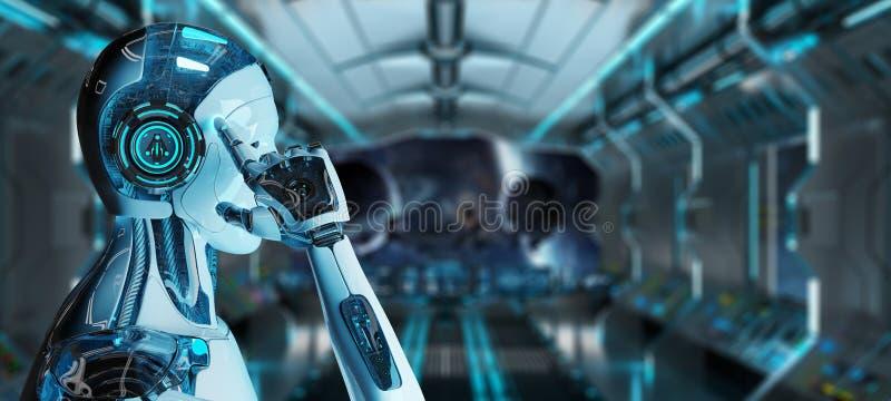 Cyborg masculino branco que pensa e que toca em sua rendição da cabeça 3D ilustração royalty free