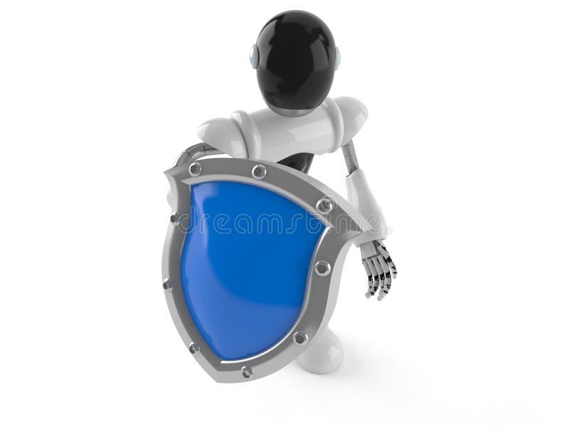 Cyborg med den skyddande skölden royaltyfri illustrationer