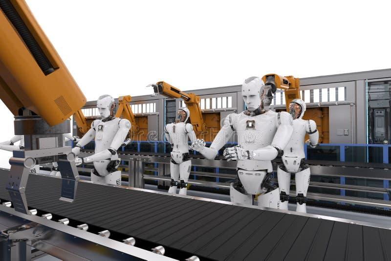 Cyborg med robotarmen royaltyfri illustrationer
