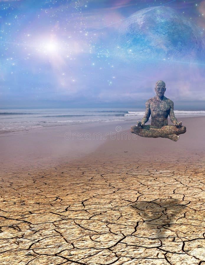 Cyborg medytacja ilustracja wektor