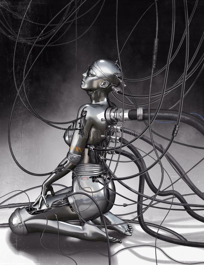 Cyborg model. 3D illustration of chrome cyborg model with cables stock illustration