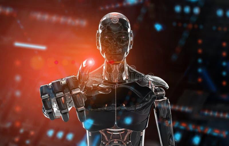 Cyborg negro y anaranjado del robot inteligente que señala el finger en la representación oscura 3D ilustración del vector