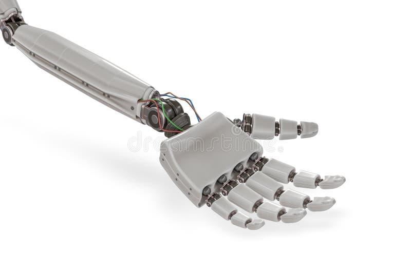 Cyborg plastic hand on white background. 3D rendered illustration.  stock illustration
