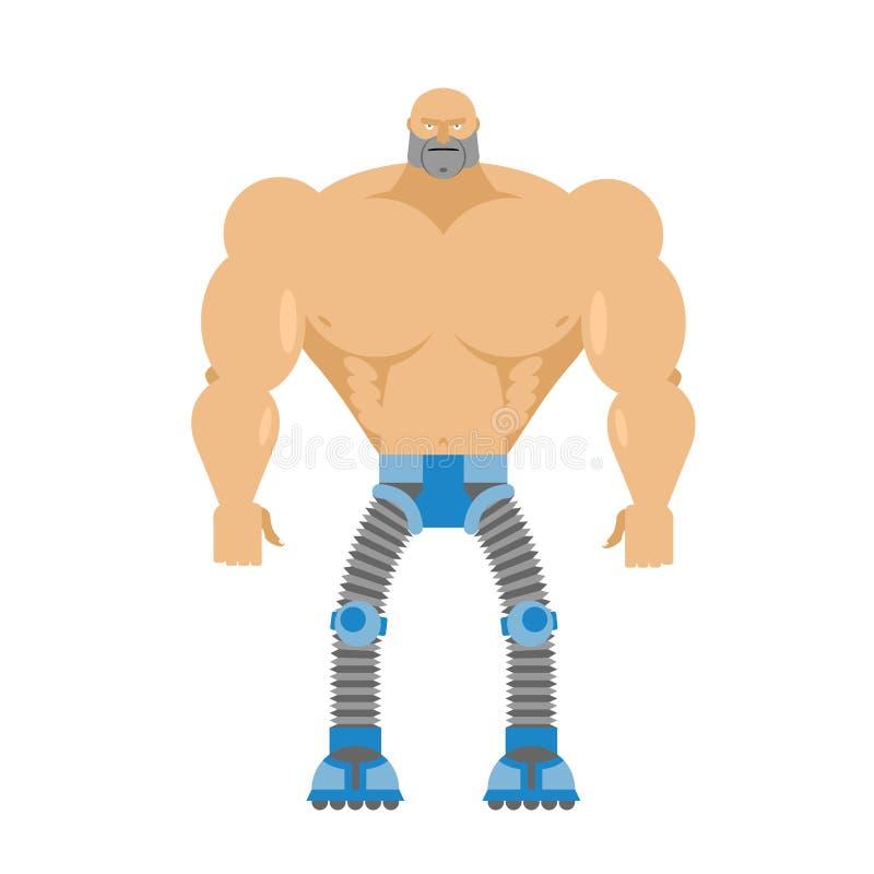 Cyborg przyrodnia istota ludzka, przyrodni robot Ciało mężczyzna Nogi Cyber mechani ilustracji