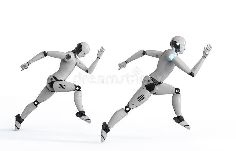 Cyborg que corre rapidamente ilustração stock